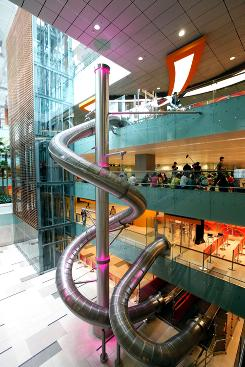 Singapore's Changi Airport offers the Slide@T3, a four-story thrill ride to the terminal. Travelers who spend at least $22 at the airport can redeem tokens for two rides. A shorter ride is free.