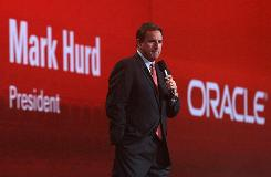 Oracle president Mark Hurd delivers a keynote address Monday during the 2010 Oracle Open World conference  in San Francisco,