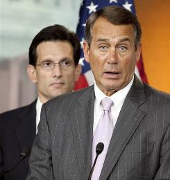 House Minority Leader John Boehner of Ohio, right, with Minority Whip Eric Cantor of Virginia in April.