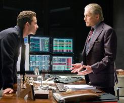 Star power: Young Wall Street trader Jake Moore (Shia LaBeouf) has a fateful confrontation with Gordon Gekko (Michael Douglas) in Wall Street: Money Never Sleeps.