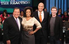 Oprah Winfrey, with New Jersey Gov. Chris Christie, from left, Newark, N.J., Mayor Cory Booker and Mark Zuckerberg.