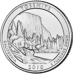 Yosemite quarter shows El Capitan rock formation.