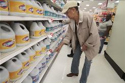 Sandra Bennerson, 66, a retiree on a fixed income, shops for bargains at Target in the Harlem section of New York.
