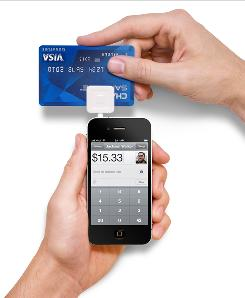 Square deal: Taking credit card information.