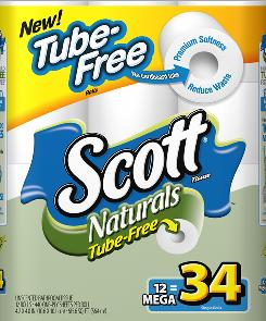 Scott Naturals new tube-free toilet paper design gets a test in the Northeast. 