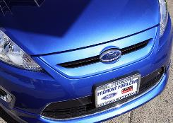 A 2011 Ford Fiesta vehicle is seen for sale, at Fremont Ford in Newark, Calif.