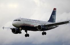 A US Airways jet airplane approaches Philadelphia International Airport in Philadelphia.