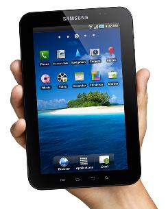 Galaxy Tab: You can hold it with one hand, a clumsy feat with an iPad.