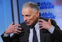 "Ralph Nader speaks during a taping of ""This Week"" at the Newseum Sunday, June 22, 2008, in Washington DC."