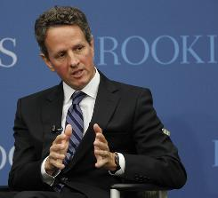 Treasury Secretary Timothy Geithner at the Brookings Institution in Washington on Oct. 6.