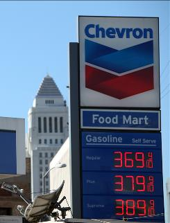 Gasoline is already above $3 a gallon in some areas, such as at a Chevron gas station on Nov. 4, 2010, in downtown Los Angeles.