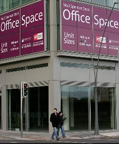 A sign offering the rental of office space is pictured in Dublin.