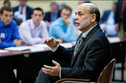 Federal Reserve Chairman Ben Bernanke speaks to an economics class at the Davis College of Business at Jacksonville University in Jacksonville, Fla., on Nov. 5.
