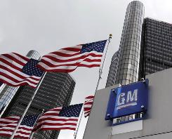 This file photo shows General Motors world headquarters in Detroit.