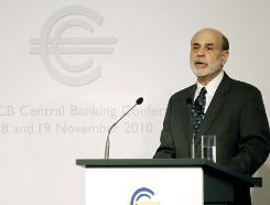 Ben Bernanke, Chairman of the U.S. Federal Reserve Board, delivers his keynote speech at the sixth European Central Bank (ECB) conference in Frankfurt, Friday Nov. 19, 2010.