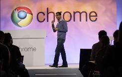 A Google exec demonstrates the Google Chrome OS in San Francisco in December.