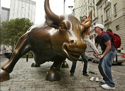 A bull statue in New York's financial district.