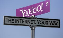 A Yahoo sign at the 2008 Consumer Electronics Show.