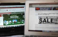 In this photo illustration, an ad seen on the Target website for a Cyber Monday sale is displayed on laptop computers on November 29, 2010 in San Anselmo, Calif.