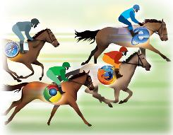Internet Explorer, Firefox, Google Chrome and Safari are browser rivals.