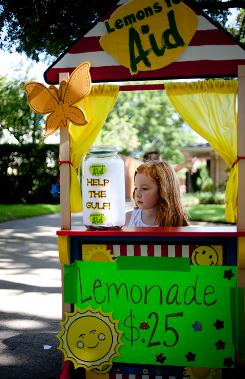 Julia Wilfong,7, at a Dallas lemonade stand in July. Proceeds were solicited to help residents of the Gulf of Mexico cope with the BP oil spill.