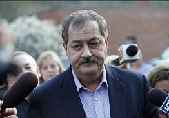 Massey Energy CEO Don Blankenship speaks to reporters in April in Montcoal, W.Va., a day after an explosion at Massey's Upper Big Branch mine.