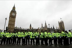 Police stand guard at the Houses of Parliament in November as students protest the United Kingdom's planned budget cuts and tuition hikes.