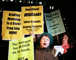 Supporters of the controversial activist website WikiLeaks and its jailed founder Julian Assange gather in front of the United States Federal Building on December 9, 2010 in New York City.