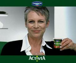Jamie Lee Curtis in a commercial for Activia yogurt.