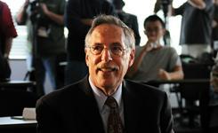 Massachusetts Institute of Technology professor Peter Diamond prepares to address the media after winning the 2010 Nobel economics prize on Oct. 11, 2010.