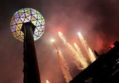 The crystal-paned ball on the roof of 1 Times Square in New York was raised shortly after 6 p.m. on Dec. 31, 2009, to signify the start of New Year's festivities in Times Square.