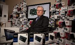 Sony's CEO Howard Stringer at company headquarters in New York City in December. The media giant is at the forefront of the revolution in video.