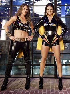 In this year's Super Bowl, GoDaddy will feature fitness guru Jillian Michaels, left, and race driver Danica Patrick as superheroes saving small businesses.