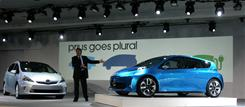 Bob Carter, Toyota Division Group vice president and general manager, introduced the Prius V, left, and Prius C concepts  on Monday in Detroit.