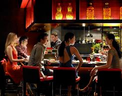 Counter dining at L'Atelier de Joel Robuchon in the MGM Grand in Las Vegas.