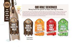 A screenshot of the Adult Beverage Co. website, adultchocolatemilk.com.