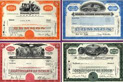 Old stock certificates.