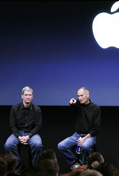 Apple's chief operating officer, Tim Cook, left, and CEO Steve Jobs, during a meeting at Apple headquarters in 2008.