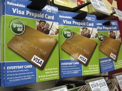 Visa prepaid cards are shown at a Duane Reade drug store in New York in February 2010.