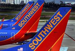 Southwest jets on the tarmac at Fort Lauderdale-Hollywood International Airport.