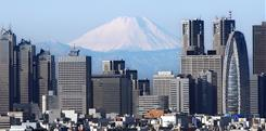Mount Fuji, Japan's highest peak at 3,776 meters (12,388 ft.), looms over Tokyo's skyline.
