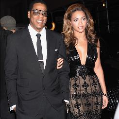Singers and married celeb couple Jay-Z and Beyonce in New York city in 2008.