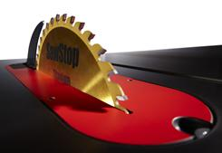 SawStop includes a safety system that stops the blade within 5 milliseconds of contact between the blade and skin.