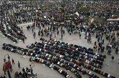 Egyptian demonstrators prostrate themselves in prayer Monday in Cairo's Tahrir Square.