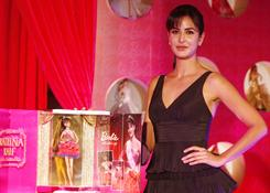 Bollywood actress Katrina Kaif stands next to a special edition Katrina Kaif Barbie doll during its launch by Mattel in Mumbai, India, Nov. 22, 2010.
