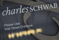 The logo on a Charles Schwab store on Wall Street. Charles Schwab and Fidelity, the two largest discount brokerages, offer hundreds of corporate bonds.