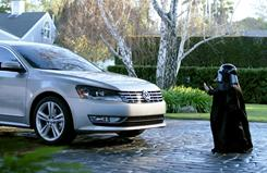 A mini Darth Vader finds the Force is with him in a Volkswagen Passat ad.