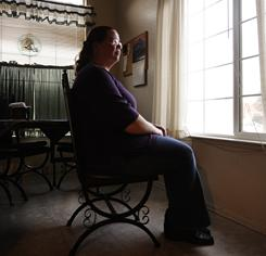 Loreina Childress in her Atwater home. She owes more on the house than it is worth, like three of five owners in Merced County, Calif.