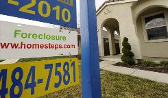 A foreclosure sign in Merced County, Calif.