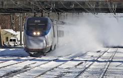 Amtrak's Acela trains travel from Washington to Boston. Obama's goal is to provide high-speed train access to 80% of Americans in 25 years.